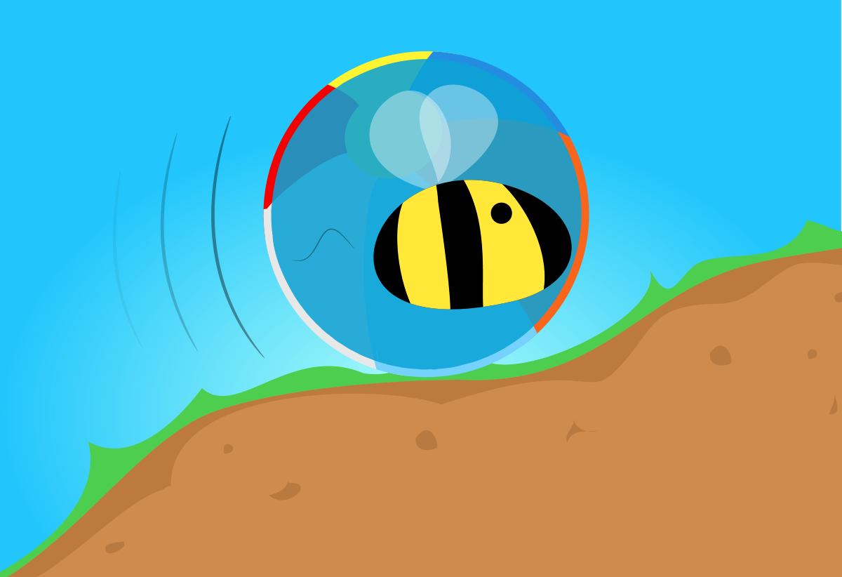 A giant bumblebee in a beachball